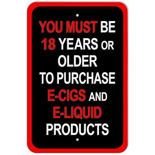 WallAdorn You Must Be Years or Older to Purchase E Cigs and E Liquid Products Inches Eisen Poster Malerei Blechschild Vintage Wall Decor für Cafe Bar Pub Home