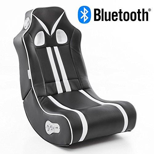 Wohnling Soundchair Ninja in Schwarz Weiß mit Bluetooth | Musiksessel mit eingebauten Lautsprechern | Multimediasessel für Gamer | 2.1 Soundsystem - Subwoofer | Music Gaming Sessel Rocker Chair