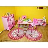 Homestyle4u 1Tisch und 2Stühle Hocker Möbel Set mit Schmetterling Motiv, Holz, mehrfarbig, 30x 30x 30cm