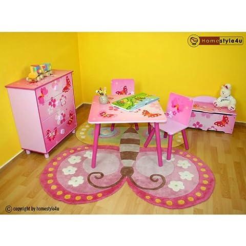 Homestyle4u 643 Kindersitzgruppe Schmetterling 3-teiliges Set 1 Kindertisch + 2 Kinderstühle aus Holz in Pink Rosa 3 tlg. Sitzgruppe Kinderzimmer 1 Tisch + 2 Stühle - Kindermöbel für Jungen & Mädchen