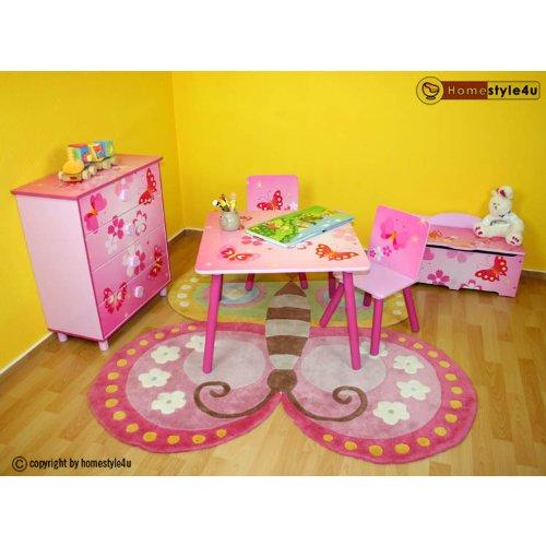 Butterfly-tisch-stuhl-set (Homestyle4u 1Tisch und 2Stühle Hocker Möbel Set mit Schmetterling Motiv, Holz, mehrfarbig, 30x 30x 30cm)