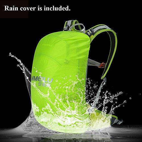 Licht Fahrradrucksack 20 L Wasserdicht Rücksack mit Regenschutz , Abnehmbare Tasche für Handy, Atmungsaktives Rückensystem Grau
