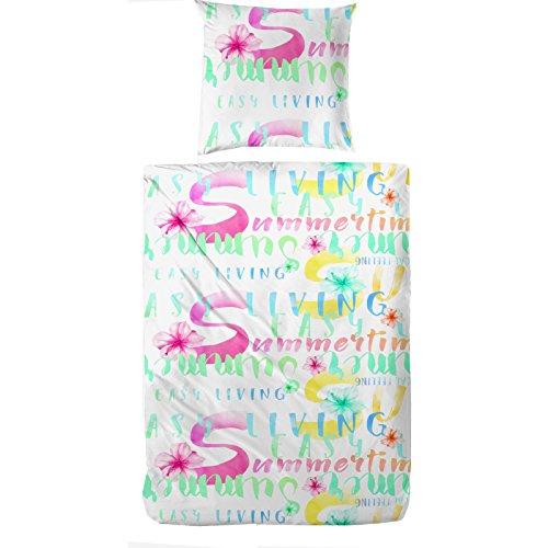 Bettwäsche Garnitur Bettgarnitur von Jemidi Moderne Bettenset Bettwäschegarnitur 135cm x 200cm Bettüberzug Bettbezüge Bettbezug (Summertime Weiß)