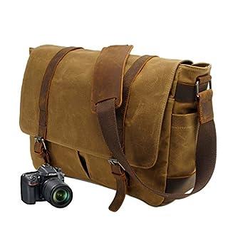 Neuleben Vintage Wasserdicht Kameratasche Aktentasche herausnehmbar Kamerafach Canvas Leder Umhängetasche Fototasche für DSLR Objektiv Laptopfach Update (Braun)