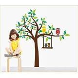 Bigmouth rama de árbol con dos cuatro Búhos extraíbles Vinilo Adhesivo Para Guardería infantil Pared adhesivo