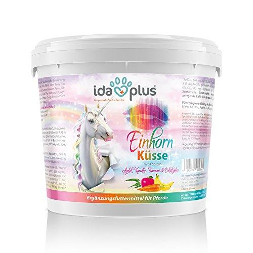Ida Plus Einhorn Küsse - Einhorn Leckerli - Pferdeleckerlis im Eimer (3 kg) - Zauberhafte Leckerlis für dein zauberhaftes Pferd, Pony & Einhorn - Mit extra vielen Vitaminen & Mineralstoffen
