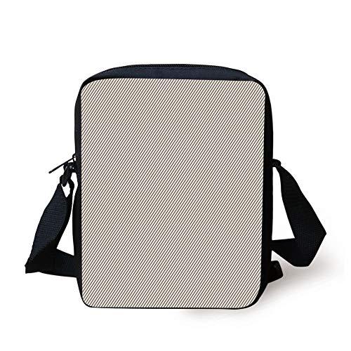 Retro,Diagonally Narrow Stripes Geometrical Classical Lines Pattern Simple Elegance Print,Cocoa White Print Kids Crossbody Messenger Bag Purse -