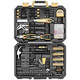 DEKO Juego de herramientas de 196 piezas Kit de herramientas de mano para el hogar en general con martillo rasgador, alicates de liniero, regla de cinta métrica y caja de herramientas de plástico