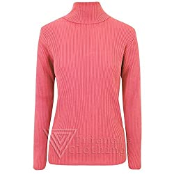 Sofias Closet Ladies Winter Warm Cosy Jumper Knitted Ribbed Polo Neck Stretch Top Pullover