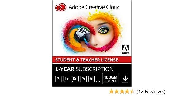 Adobe Creative Cloud All Apps | Student & Teacher | 1 Year | PC/Mac |  Download