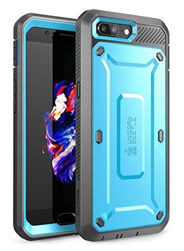 SupCase OnePlus 5 Hülle, Ganzkörper Robust Halfter Hülle mit Eingebaute Displayschutz für OnePlus 5 (2017 Version), Unicorn Beetle PRO Serie Verkaufsverpackung (Blau/Grau)