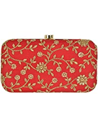 PARIZAAT BY SHADAB KHAN Women's Stylish Party wear Latest Design Clutch for Casual, Evening, Bridal, Wedding (Red)