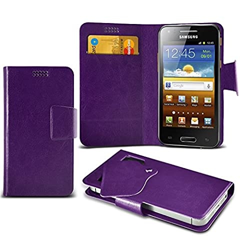 (Purple) Samsung I8700 Omnia 7 Super dünne Kunstleder Saugnapf Wallet Case Hülle mit Credit / Debit Card SlotsBy