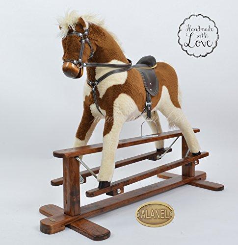 ALANEL Sehr Hochwertiges Großes Schaukelpferd / Schaukeltier Rocking Horse Cheval à Bascule Cavallo a dondolo Handarbeit Magnum (Brown-Cream)