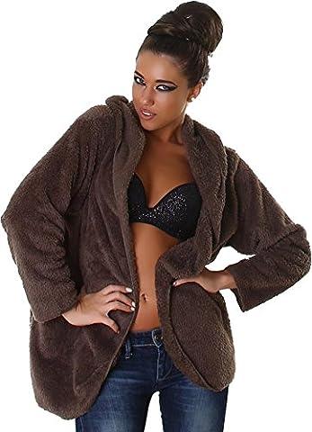 Jela Londres Ladies chandail Veste-chemise Teddy Cardigan manches longues à capuche Brown 38,40,42,44 velcro longue