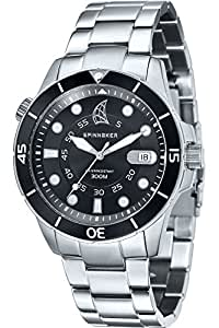 Spinnaker - SP-5005-11 - Helium - Montre Homme - Quartz Analogique - Cadran Noir - Bracelet Acier Gris