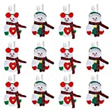 annhao Portaposate Natalizie, 12 Pezzi Set Portaposate Natalizie da Babbo Natale Tasche Posate per Forchetta Cucchiaio Decorazione della Tavolo di Natale, 2 Stili