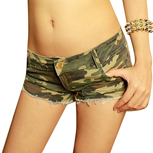 Frauen Heiße dünne Mini Sexy Fatigues Camouflage Burr Cut Off säumtes Low Waist Denim Jean Shorts S (Ausgefranste Shorts Cut-off)