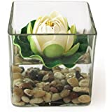 TiedRibbons® Square Glass Vessel With Faux Lotus And Natural Stones Flower Vases For Home Décor With Flowers | Diwali Home Decor | Diwali Gifts For Office