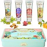 Französisches Handcreme Box, eine Geschenkbox mit 4 Leicht Parfümierten und Feuchtigkeitsspendenden Handcremes (4x25ml), Parfums : Rose, Süße Mandel, Verbena, Orangenblüte, Geschenkideen für Frauen