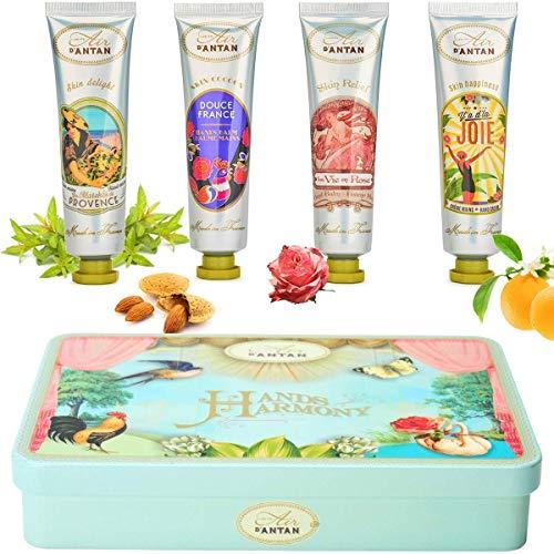 Un Air d'Antan Handcreme Box, eine Geschenkset mit 4 Parfümierten, Feuchtigkeitsspendenden Handcremes 4x25ml, Parfums Rose, Süße Mandel, Verbena, Orangenblüte, Geschenk für Geburtstag, Frauen