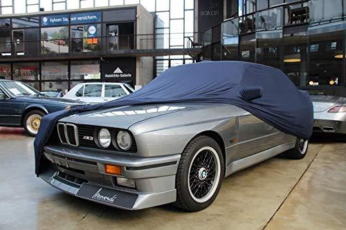 AMS Vollgarage Mikrokontur® Blau mit Spiegeltaschen für BMW 3er (E30) Bj. 82-90, schützende Autoabdeckung mit Perfekter Passform, hochwertige Abdeckplane als praktische Auto-Vollgarage