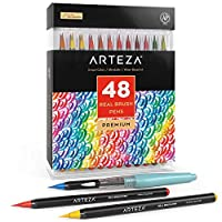 Arteza Real Brush Pens, 48 Colours for Watercolour Painting with Flexible Nylon Brush Tips, Paint Markers for Colouring, Calligraphy and Drawing with Water Brush for Artists and Beginner Painters
