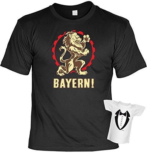 Cooles Geschenkset für Patrioten - T-Shirt + Mini Shirt : Bayern - Geschenkset Bayern Farbe: schwarz Schwarz