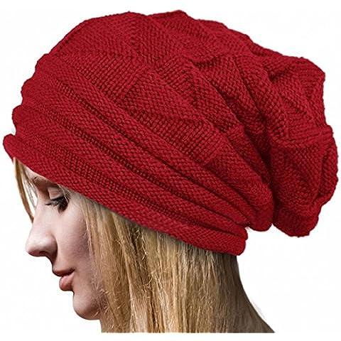 Tongshi Crochet Invierno Mujeres Sombrero de lana Tejer Beanie Warm Caps