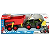 Dickie Toys 203819002 Happy Farm Trailer, Spielzeugtraktor inkl. Anhänger für Kleinkinder, mit Licht-und Soundfunktion