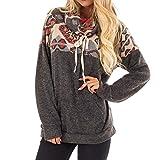 TianWlio Weihnachten Pullover Langarmshirt Bluse Hoodie Frauen Herbst Winter Sweatshirt mit Kapuze-Ausschnitt Patchwork Fronttasche Pullover Bluse (2XL, Schwarz)