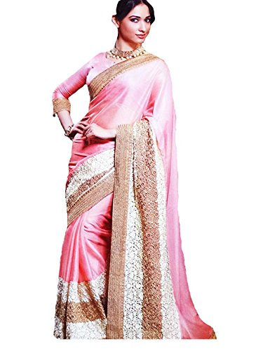Adorn fashion Tamanna Bhatia Pink Lycra Silk Georgette Saree