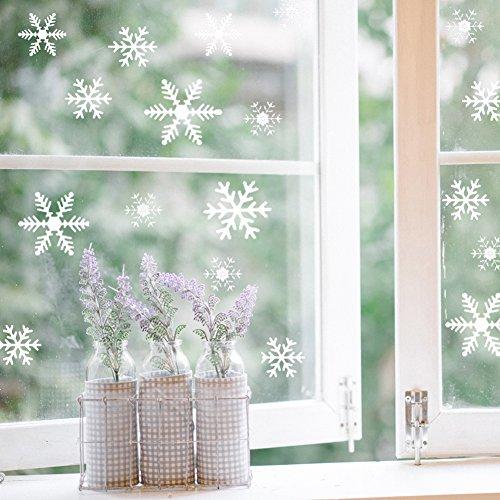 fensterbilder schneeflocken Foho 108 Fensterbilder Schneeflocken Design für Winter und Weihnachten Fensterdeko Set - Statisch Haftende PVC Aufkleber