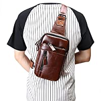 Artmi Mens Leather Waist Pack Fashion Shoulder Bag Chest Pack Vintage Satchel (Brown)