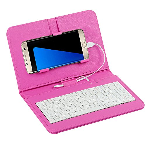 Tonsee General Wired Keyboard Flip Holster Case For Andriod Mobile Phone 4.2''-6.8'',Rosa (Htc M8 Bunte Fall)