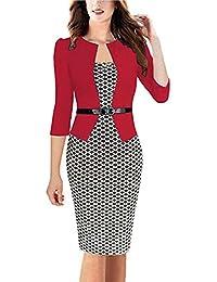 carinacoco Donna Vestiti Manica a 3 4 Elegante Stampato Floreale Abito con  Cintura Giuntura Pannello 5943a8ef7bc