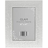 Glam Metallic Chic Free Standing & Hanging Portrait Picture Photo Frame 6 x 4 (Silver)