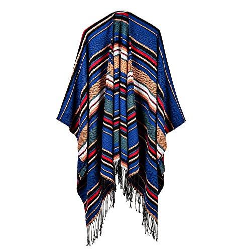 swall owuk Femme Poncho automne Capes Veste en tricot avec franges double face écharpe bleu F D