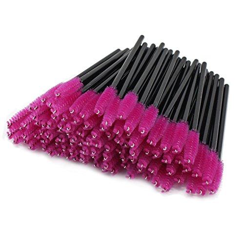 PsmGoods®100PCS jetable pinceau de mascara de cils de pinceau pinceaux cosmétique d'oeil de brosse (rose rouge)