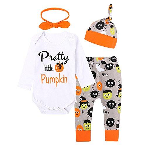 Cuteelf Halloween Kostüme Neugeborenes Baby Mädchen Brief Overall Tops + Hosen Halloween Kostüm Anzug Halloween Pluderhosen Hut Herbst und Winter warme Anzug (Schnell Und Einfach Indischen Kostüm)