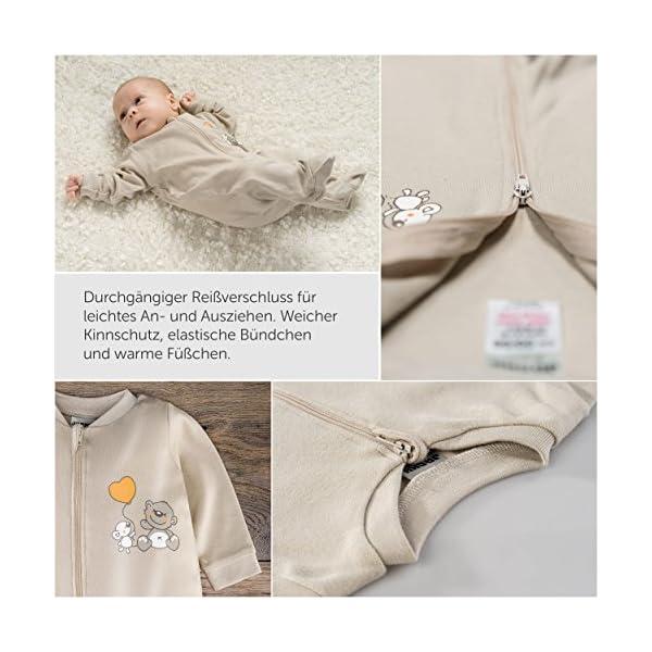 Jacky – Juego de 2 peleles / pijamas de bebé con pies – unisex – 100% algodón – blanco / beige – producto libre de… 3