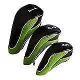 Andux Golf-Fahrer-Holz-Kopf-Abdeckungen mit Reißverschluss Für 460cc Driver Set von 3 (MT/MG18 Black/Green)