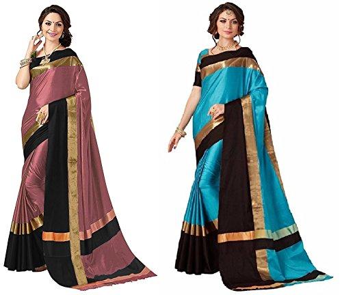 Art Décor Sarees Women's Pack of 2 Sarees Cotton Silk Saree With...