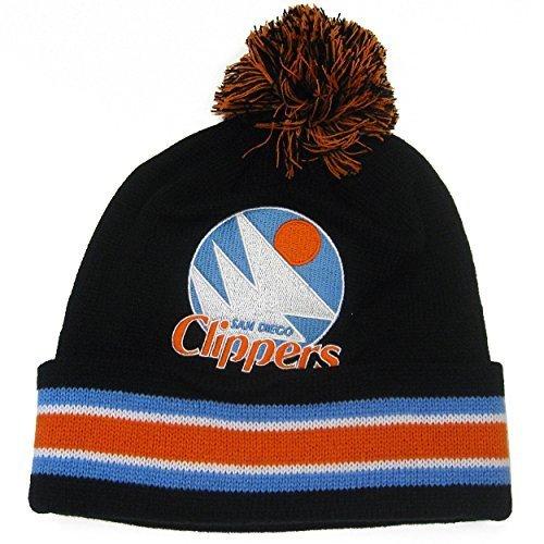 san-diego-clippers-mitchell-ness-nba-blackout-cuffed-knit-hat-w-pom-by-mitchell-ness