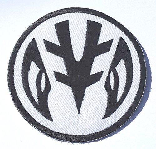 Power Rangers gesticktes Eisen auf Patch/weiß Ranger Logo Badge Aufnäher Tommy Oliver Kostüm Fancy Kleid Motiv Sammlerstück