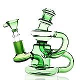 UUYSU Bong Vidrio Altura 12cm Bong Accesorios 14mm Bongs Bong Pipa Percolador Bong Cristal Grande Glass Bong Oil Rig Bong Agua Bho Bong Marihuana Grande Adaptador Verde Compacto Portable (Verde)