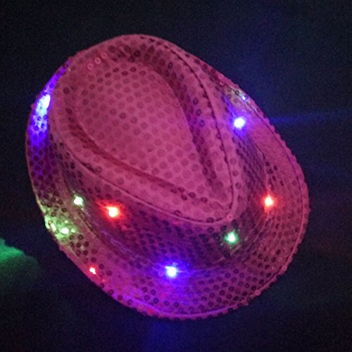 JNTworld LED Clignotant Costume Novelty Sequin Fedora Fête Hat Jazz Caps Rose carmin