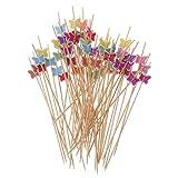 Yangfr 100 Stück 12 cm Schmetterling Lebensmittelpicks Handgefertigte Bambus Zahnstocher Gemüsesäcke Cocktail Zahnstocher