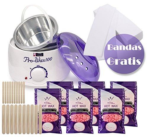 Crisnails® Kit de Depilación Profesional, Calentador de Cera Eléctrico Profesional de 500ml, 6 Bolsas...