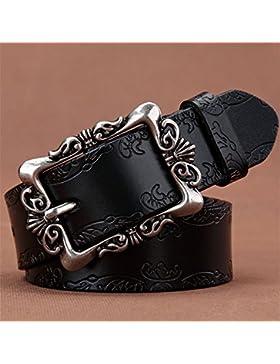 LONFENN Correa ancha decorativa de la manera casual del cuero de hebilla pin retro de señora black 110cm